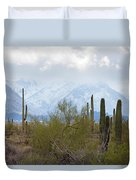 Snowfall On The Mountains Duvet Cover
