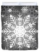 Snowflakes Black And White Duvet Cover