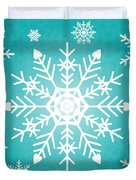 Snowflakes Green And White Duvet Cover