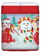 Snowgirls With Serape Scarf Duvet Cover