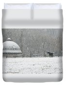 Snowing At The Round Barn Duvet Cover