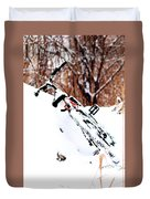 Snowing On The Bicycle Duvet Cover