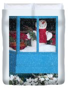 Snowman And Poinsettias - Frosty Christmas Duvet Cover