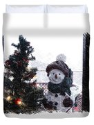 Snowman And Tree Pa Duvet Cover