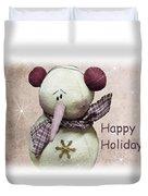 Snowman Greeting Card Duvet Cover