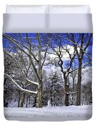 Snowman In Central Park Nyc Duvet Cover