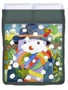 Snowman In Snow Duvet Cover