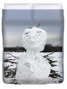 Snowman On Epsom Downs Surrey Uk Duvet Cover