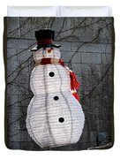 Snowman On The Roof Duvet Cover