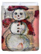 Snowman With Red Hat And Mistletoe Duvet Cover