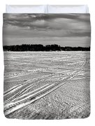 Snowmobile Tracks On China Lake Duvet Cover