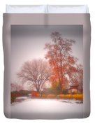 Snowstorm In The Japanese Gardens Duvet Cover