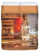 Snowstorm On Tremont Street Boston Ma Park Street Church Duvet Cover
