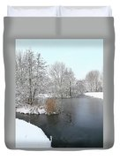 Chilled Scenery Around Frozen Canals Duvet Cover