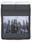 Snowy Christmas At Big Bear Lake Duvet Cover