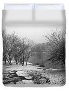 Snowy Day On Redd's Pond And Old Burial Hill Duvet Cover