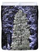 Snowy Day Pine Tree Duvet Cover