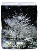 Snowy Dogwood Tree At Night Duvet Cover