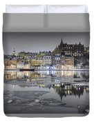 Snowy, Dreamy Reflection In Stockholm Duvet Cover