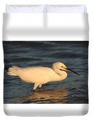 Snowy Egret By Sunset Duvet Cover