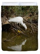 Snowy Egret Fishing From Branches Duvet Cover