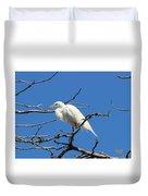 Snowy Egret In Nesting Area Duvet Cover