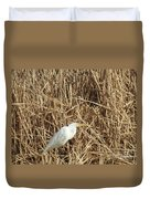 Snowy Egret In Tall Grasses Duvet Cover