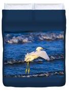 Snowy Egret Lands In Surf Duvet Cover