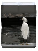 Snowy Egret Looking For Next Meal Duvet Cover
