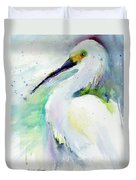 Snowy Egret On Lido Beach Duvet Cover