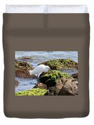 Snowy Egret  Series 2  1 Of 3  The Catch Duvet Cover