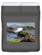 Snowy Egret  Series 2  2 Of 3  Preparing Duvet Cover