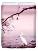 Snowy Egret Solitude Duvet Cover