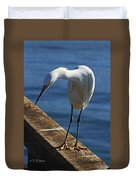 Snowy Egret That Minnow Will Be Fine Duvet Cover