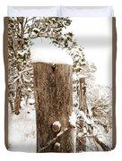 Snowy Fence Post Duvet Cover