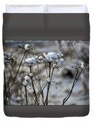 Snowy Flowers  Duvet Cover