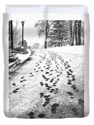 Snowy Footsteps Duvet Cover