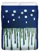 Snowy Forest At Midnight Duvet Cover