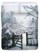 Snowy Garden Gate Three Duvet Cover