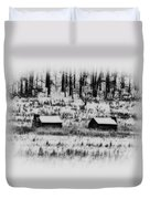 Snowy Log Cabins At Valley Forge Duvet Cover