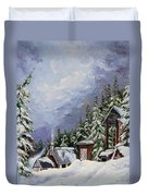 Snowy Mountain Resort Duvet Cover