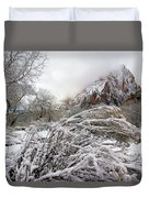 Snowy Mountains In Zion Duvet Cover
