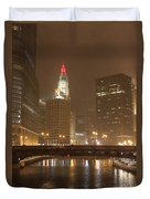 Snowy Night In Chicago Duvet Cover