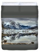Snowy Reflections In Medicine Lake Duvet Cover