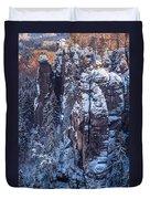 Snowy Rocks. Saxon Switzerland Duvet Cover