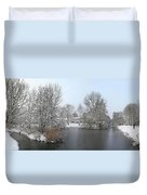 Snowy Scenery Round Canals Duvet Cover