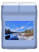 Snowy Shore Of The Moose River Duvet Cover
