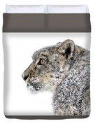 Snowy Snow Leopard Duvet Cover