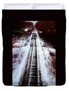 Snowy Train Tracks Duvet Cover