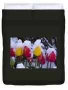 Snowy Tulips Duvet Cover